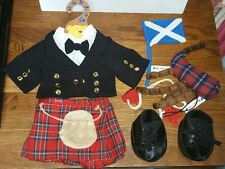 Build A Bear Factory SCOTTISH Highlander shirt/jacket, kilt, bagpipes boots flag