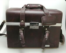 ** VINTAGE 1960s BROWN FAUX LEATHER HARD CAMERA PHOTO GADGET BAG CASE **