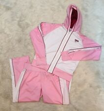 Vintage Nike Women's Pink Cropped Tracksuit- Size Medium (8/10)