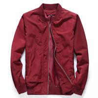Slim Fit Long Sleeve Zipper Men Casual Overcoat Baseball Tops Solid Jacket Coat