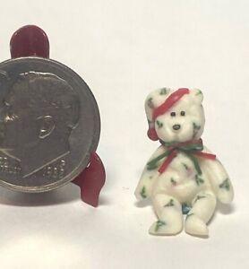Artisan Vintage Clay Beanie Baby Holiday Teddy Bear Christmas Dollhouse 1:12