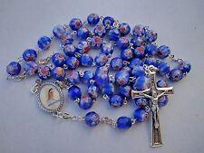 Cattolica Rosario in cristallo di Murano Blu Medjugorje ROSARI regalo Santino