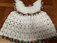 Handmade Crochet Girls' Sleeveless White Dress  - 6 weeks to 3 months