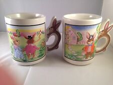 Easter - Bunny Handles 2 Vintage Ceramic Coffee Tea Mugs Cups -Rabbits-Drinkware