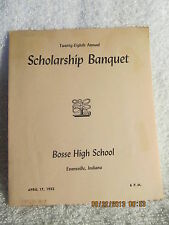 1952 Bosse High School Scholarship Banquet Program W/List of Names Evansville IN