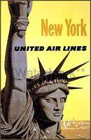 New York City 1960 United Airline Vintage Poster Print Retro Style Travel Decor