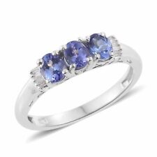 TANZANITE (OVL), Anello di diamanti in platino Overlay Argento Sterling 1.050 KT