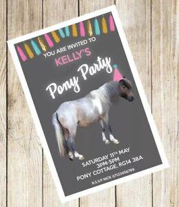 10 *PERSONALISED* PONY PARTY theme birthday invitations invites PONIES