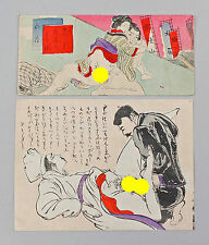 2 kleine Farbholzschnitte Shunga Blätter Japan um 1920 Erotik 99850015