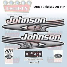 2001 Johnson 20 HP Sea-Horse Outboard Reproduction 9 Piece Marine Vinyl Decals