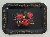 Vintage Small Metal Dresser Tray Painted Roses Flowers Black