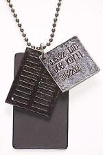 US Army Black , Gunmetal & Chrome Metal Name Plate Metal Necklace(Zx181)