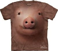 Big Face Pig T-Shirt by The Mountain. Giant Head Farm Animal Sizes S-5XL NEW