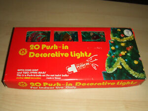 Vintage Boxed 20 Working Push In Swan Decorative Christmas Lights Made in Taiwan