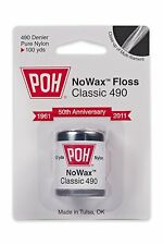 Pack of 4 100 yard POH Dental Classic 490 No Wax Floss Unwaxed & Pure Nylon