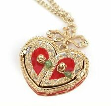 Vintage Style Red Heart Locket Pendant & Chain