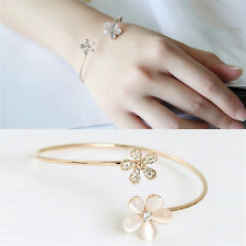 New Women Flower Crystal Gold Plated Cuff Bracelet Bangle Charm Jewelry Gift CC