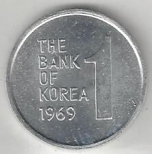 KOREA, SOUTH,  1969, 1 WON,  ALUMINUM,  KM#4a,  BRILLIANT UNCIRCULATED
