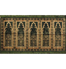 Islamic Family Masjid Prayer Rug Carpet 5 Multi Person Janamaz Sajjadah Green