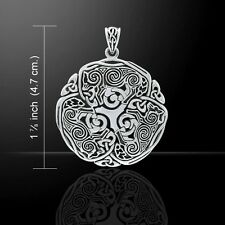 Celtic WOLF Pendant .925 Sterling Silver Norse Viking Triskele Wolf energy