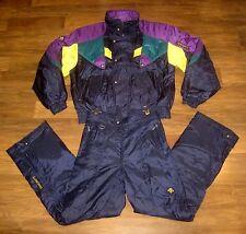 DESCENTE Mens LARGE SKI Suit Jacket Coat vtg Bib 2 Piece Snowsuit Snow 36 Pants