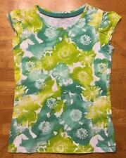 Cherokee Girl's White & Green Floral Short Sleeve Shirt - Size Small