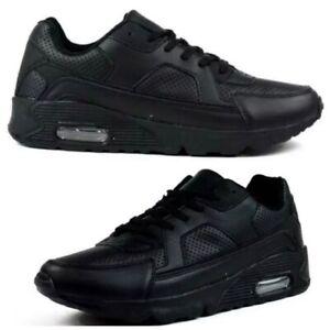 Men Black Lightweight Flexible Shock Absorb Casual Comfort Air Trainer Shoe Size