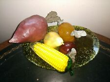 Antique Crackle Glass Fruit, Onyx Pear, Murano-style Corn and Blown Glass Dish