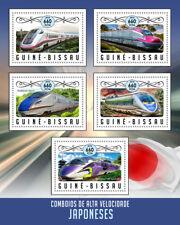 Guinea-Bissau 2016 MNH Japanese High-Speed Trains Shinkansen 5v M/S Rail Stamps