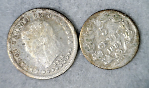COLUMBIA 1875 AND NICARAGUA 1887 : 2 SILVER COINS ( stock# 065)