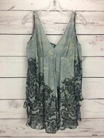 Free People Women's Cold Shoulder Floral Long Tie Sleeve Tunic Top Size XS