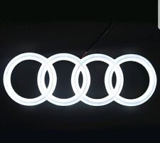 LED EMBLEM AUDI A3 A4 A5 A6 WHITE LIGHT FRONT GRILL GLOW LOGO BADGE RINGS