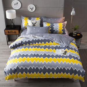 Reversible Striped Bedding Set Duvet Quilt Cover+Sheet+Pillow Case Four-Piece