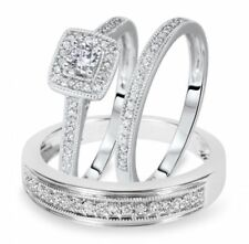 2Ct His & Her 10k Solid White Gold & Diamond Trio Ring Bridal Wedding Band Set