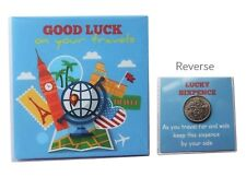 GOOD LUCK ON YOUR TRAVELS HOLIDAY LUCKY SIXPENCE CHARM BACKPACKING GAP YEAR GIFT