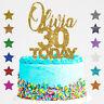 Personalised Happy 30th Birthday Glitter Cake Topper Custom Name  Age  18 21 40