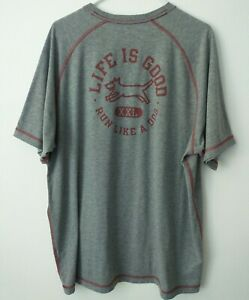 Life Is Good~Run Like a Dog~Gray~Sz XL~Short Sleeve~Powered by Optimism~Shirt