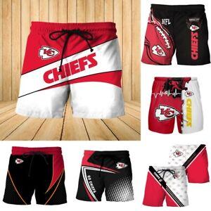 2021 New Kansas City Chiefs Beach Shorts Summer Swim Trunks Fans Casual Swimsuit