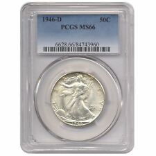 1946-D SILVER WALKING  LIBERTY HALF DOLLAR PCGS MS66