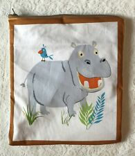 Wet clothes pouch  w/vinyl lining  & zip closure - handmade - hippo -name option