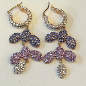 AKKAD Drop Earrings Dangle Ballroom Pageant Drag Runway Pierced Purple Pink GLAM