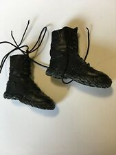 1/6 Scale Punisher Black Cloth Laces Tactical Boots Peg Insert