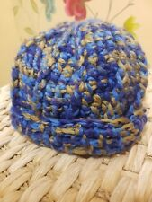 Bronze Grey Blue Hand Crocheted Wool Hat - Adult - Unisex