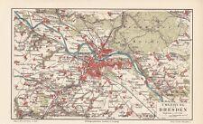1894 DRESDEN Umgebung Original alter Stadtplan Landkarte Karte Antique City Map