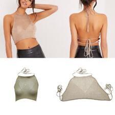 Women Boho Beach Bikini Halter Cotton Blend Knit Cami Tank Crop Top Clubwear