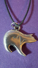 Native American Zuni Heartline Bear Pewter Pendant Necklace Turtle Island     f4