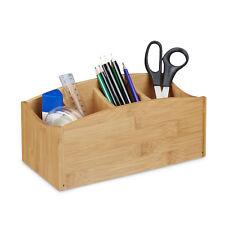 Schreibtischorganizer Bambus als Aufbewahrungsbox mit Stifteköcher und 4 Fächern