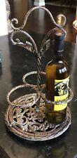 Unique Vintage Art Metal Shabby Chic Distressed 3 Bottle Wine Caddy