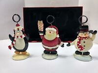 St. Nicholas Square Photo Holder Set 3 Christmas Clip Frame Tower Santa Snow