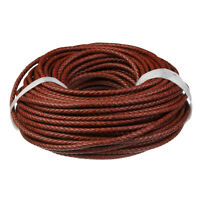 Woven Leather Cord Braided Leather Strap for Jewelry Making Crafts Dark Red